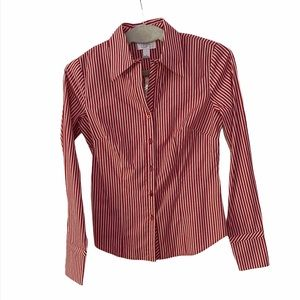 Anne Taylor Loft Striped Button Down Shirt